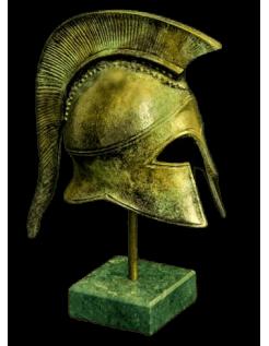 Spartan helmet in bronze inspired by ancient Greece