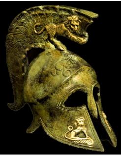 Casque spartiate avec lions en bronze