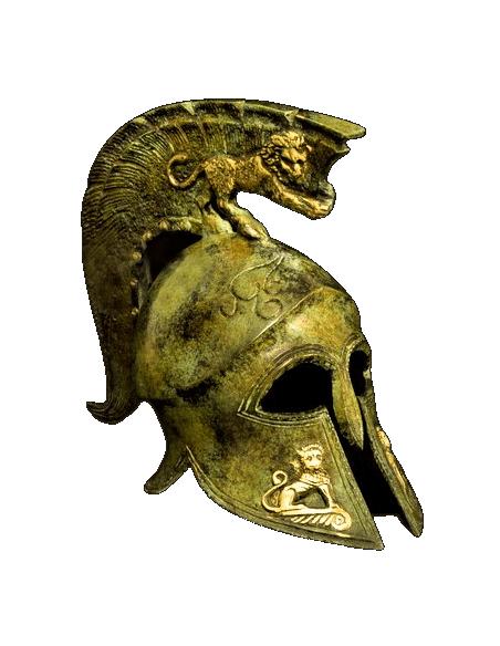Spartan helmet with lions in bronze