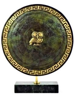 Escudo ateniense de la Grecia antigua  (con el símbolo de la diosa Atenea)