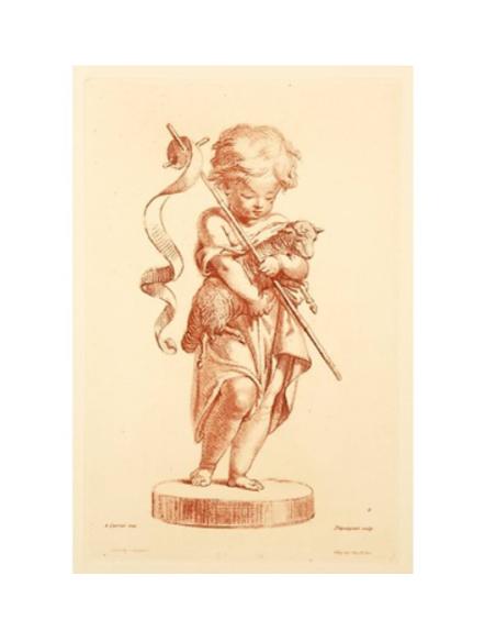 El pequeño San Juan Bautista de pie con una oveja y una cruz