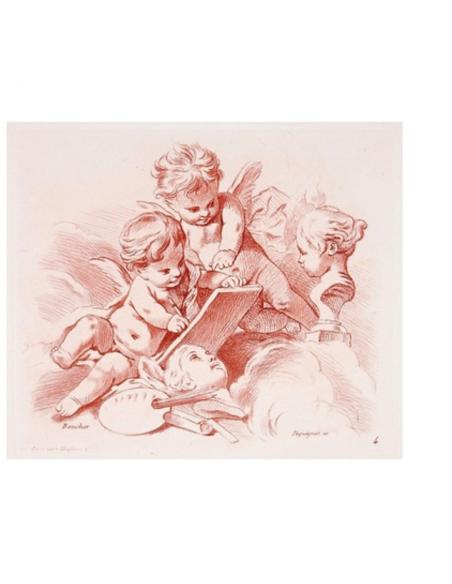 Dos angelitos con los atributos de la pintura y la escultura