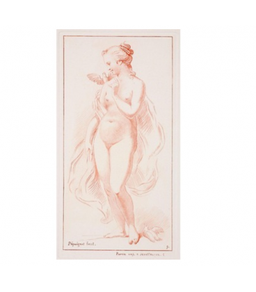 Naked standing woman with a dove on her shoulder