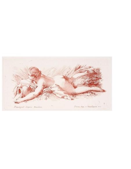 Femme nue couchée sur le ventre tenant un vase
