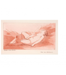 Naked woman lying on her back near a vase spreading water