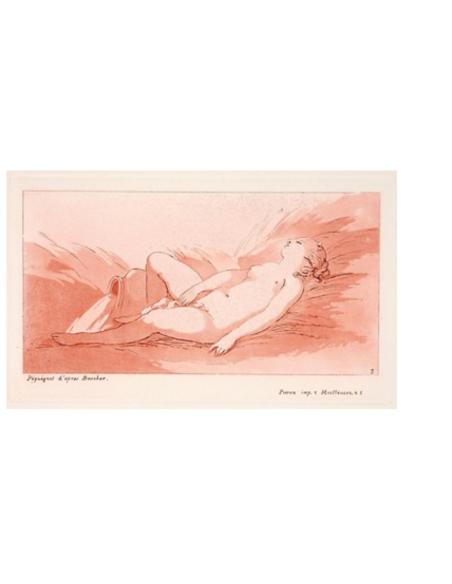 Femme nue couchée sur le dos à côté d'un vase répandant de l'eau
