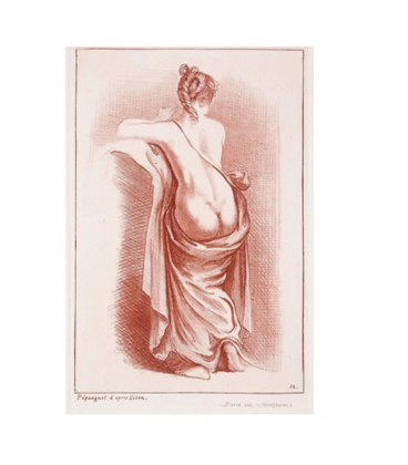 Half naked woman on her back, legs in a drapery