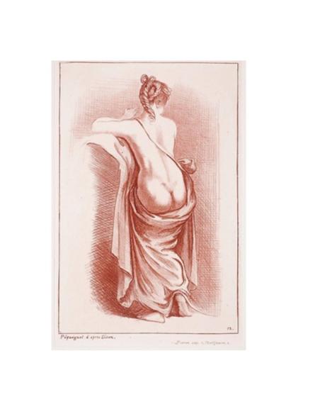 Mujer semidesnuda de espaldas y piernas en drapeado